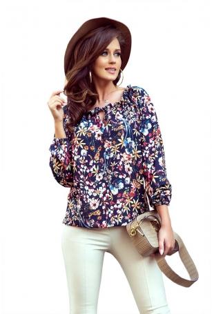Bluzka Hiszpanka z Długim Rękawem w Kolorowe Kwiaty