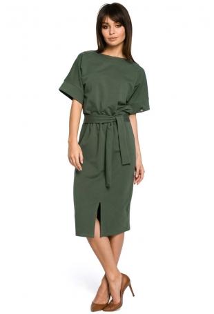 Zielona Sukienka Midi z Rozcięciem na Przodzie