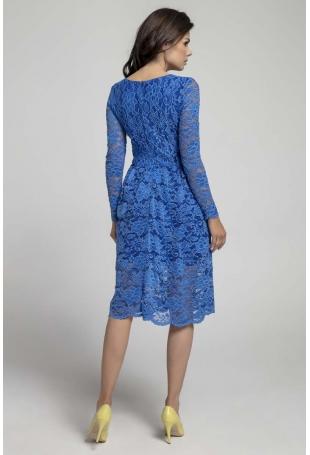 Granatowa Wizytowa Rozkloszowana Sukienka z Koronki