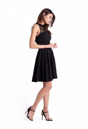 Czarna Rozkloszowana Sukienka z Siateczką