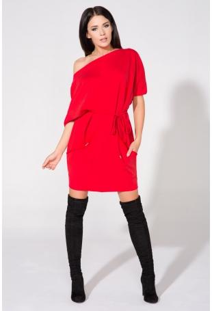 Czerwona Sukienka Dzianinowa z Nakładanymi Kieszeniami