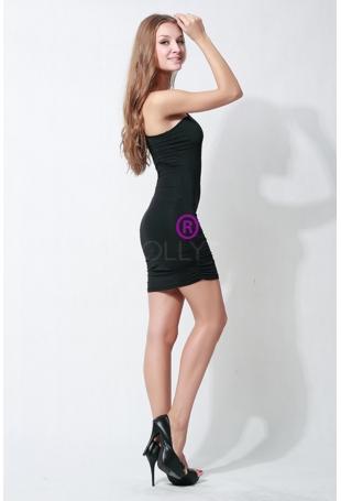 Stylowa Czarna Sukienka na Jedno Ramię