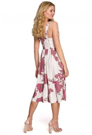 Midi Sukienka na Ramiączkach z Kwiatowym Nadrukiem - Model 2