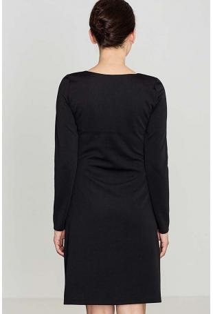 Czarna Dzianinowa Stylowa Sukienka z Kieszeniami na Suwak
