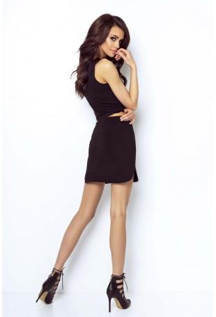 Czarna Asymetryczna Mini Spódnica na Gumie