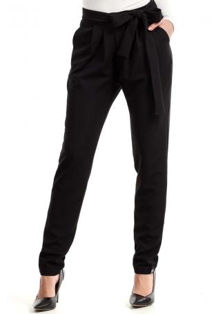 Czarne Spodnie z Wiązanym Paskiem