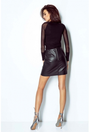 Czarna Prosta Krótka Spódnica z Eko-skóry