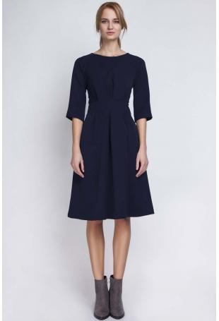 Granatowa Wizytowa Sukienka z Szerokim Dołem w Zakładki