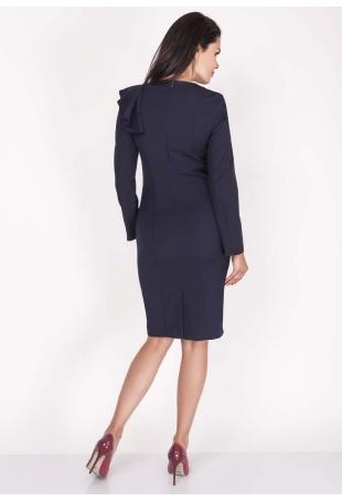 Granatowa Sukienki Ołówkowa Midi z Falbaną na Ramieniu