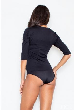 Nowoczesna Czarna Bluzka - Body z Długim Suwakiem