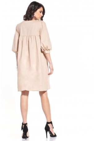 Midi Sukienka z Bufiastym Rękawem - Cappuccino