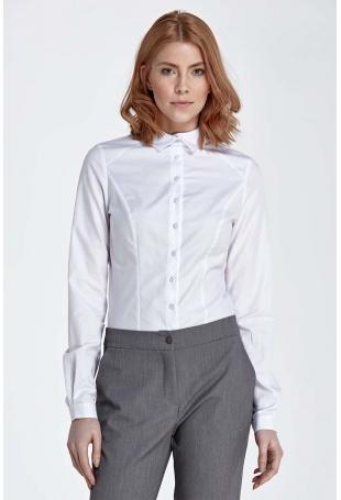 Biała Koszula z Efektownym Kołnierzykiem