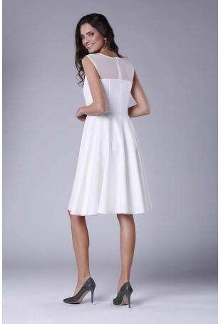 Ecru Rozkloszowana Sukienka Midi z Prześwitującym Karczkiem