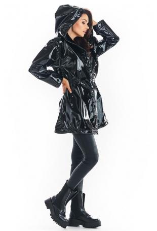 Czarna Winylowa Kurtka z Kapturem