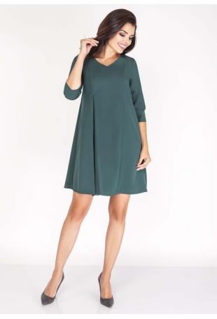 Zielona  Sukienka w Serek z Kontrafałdą