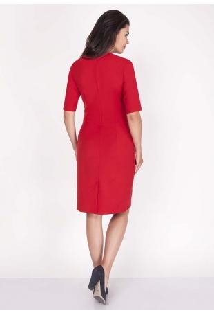 Czerwona Sukienka Elegancka Dopasowana Midi z Krótkim Rękawem