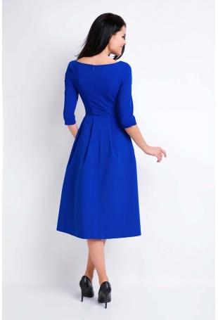 Niebieska Sukienka Wizytowa Midi z Szerokim Dołem