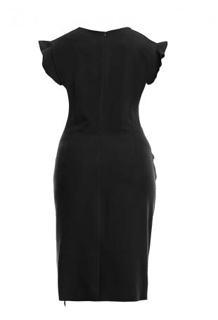 Stylowa Czarna Sukienka z Falbanką PLUS SIZE