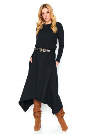 Czarna Asymetryczna Długa Sukienka Dzianinowa
