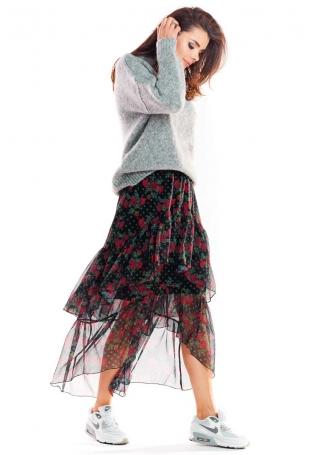 Wzorzysta Asymetryczna Maxi Spódnica z Falbankami - Wzór 1