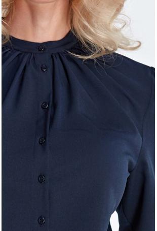 Granatowa Wizytowa Koszulowa Bluzka z Marszczeniami przy Stójce
