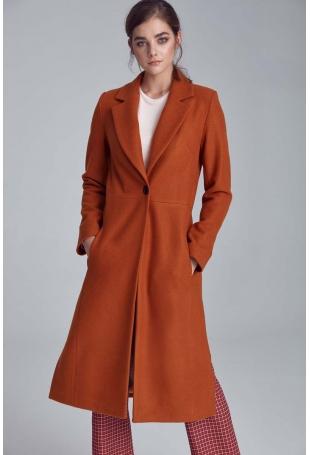 Miodowy Długi Klasyczny Płaszcz z Rozcięciami po Bokach