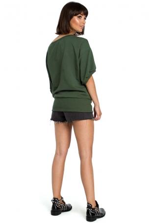 Zielona Bluzka z Zakładanym Kopertowo Ściągaczem