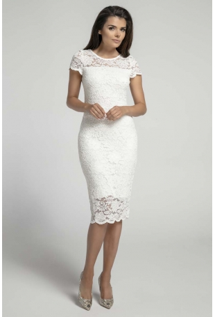 Ecru Koronkowa Ołówkowa Sukienka Midi z Dekoltem V na Plecach