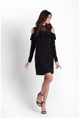 Wizytowa Czarna Sukienka z Koronką z Wyciętymi Ramionami