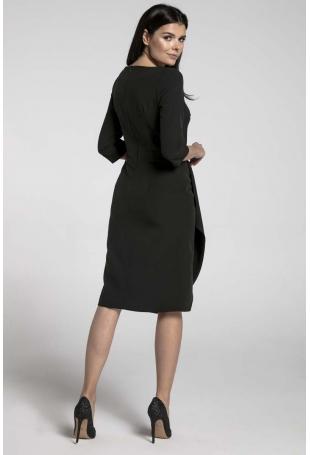 Czarna Elegancka Sukienka z Zakładanym Dołem
