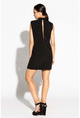 Czarna Sukienka Mini z Wycięciami