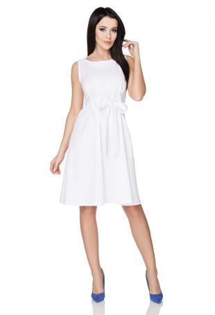 Biała Letnia Rozkloszowana Sukienka z Wiązaną Szarfą