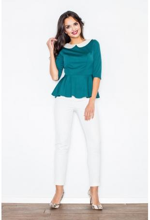 Zielona Bluzka z Białym Retro Kołnierzykiem z Baskinką