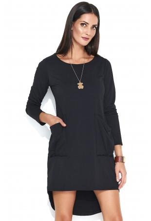 Czarna Asymetryczna Krótka Sukienka z Kieszeniami