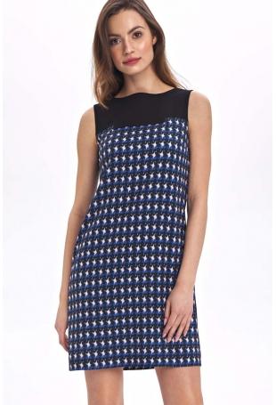 Krótka Sukienka bez Rękawów z Graficznym Wzorem