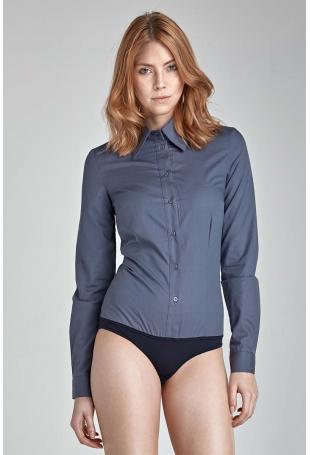Stylowa Szara Koszula-Body z Długim Rękawem
