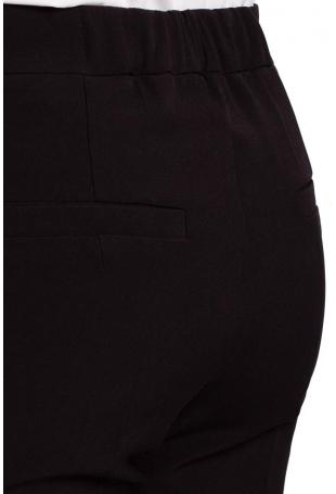 Czarne Spodnie Cygaretki w Kant