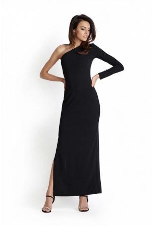 Czarna Wieczorowa Sukienka Maxi na Jedno Ramię