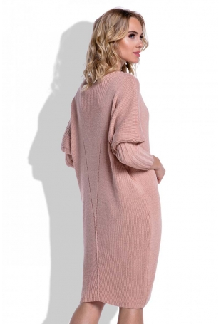 Morelowa Sukienka Sweter z Rękawem Kimono