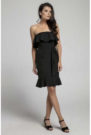 Czarna Koktajlowa Sukienka Typu Hiszpanka z Paskiem