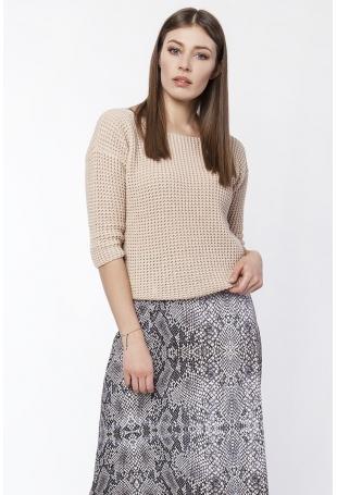 Beżowy Sweter z Widocznym Splotem z Dekoltem z Przodu lub z Tyłu