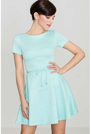 Zielona Rozkloszowana Sukienka z Krótkim Rękawem