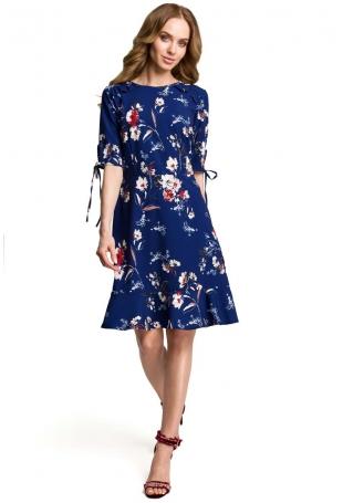 Granatowa Zwiewna Sukienka w Kwiaty z Falbankami