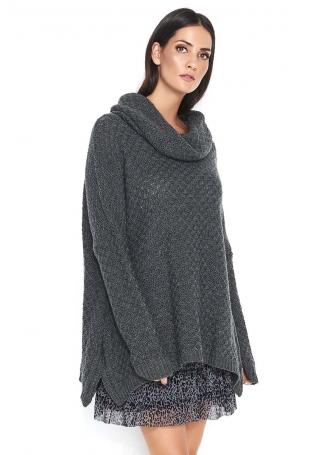 Grafitowy Oversizowy Sweter z Wywijanym Golfem