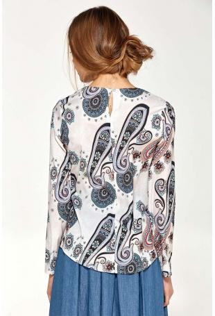 Wzorzysta Elegancka Wyjściowa Bluzka z Draperiami