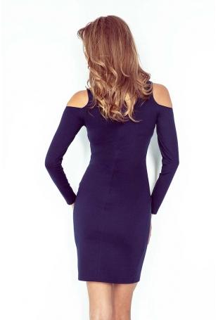 Granatowa Sukienka Dopasowana z Wyciętymi Ramionami