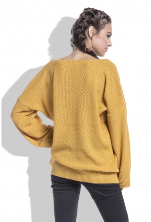Miodowy Sweter w Serek z Kieszeniami z Przodu