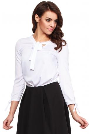 Biała Koszulowa Bluzka z Wiązaniem