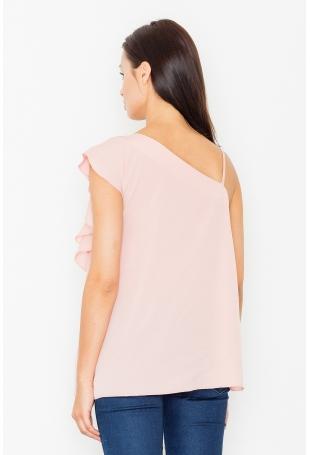 Różowa Bluzka na Jedno Ramię z Asymetryczną Falbanką