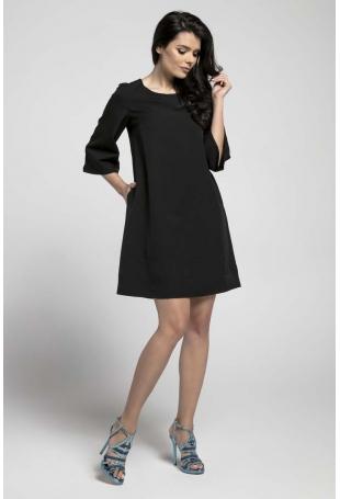 Czarna Wizytowa Sukienka o Linii A z Przeszyciami